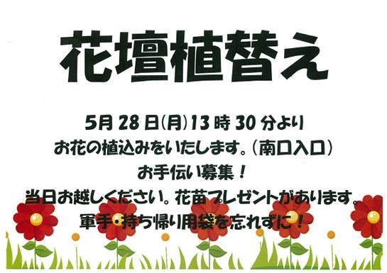 5月28日花壇植替えお手伝い募集!